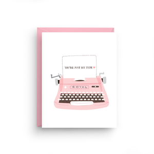 i love you card, cute i love you card, happy anniversary, i love you, cute card, funny valentine, valentine's day card, valentine's day, blue, you're just my type, vintage typewriter, typewriter card, royal typewriter