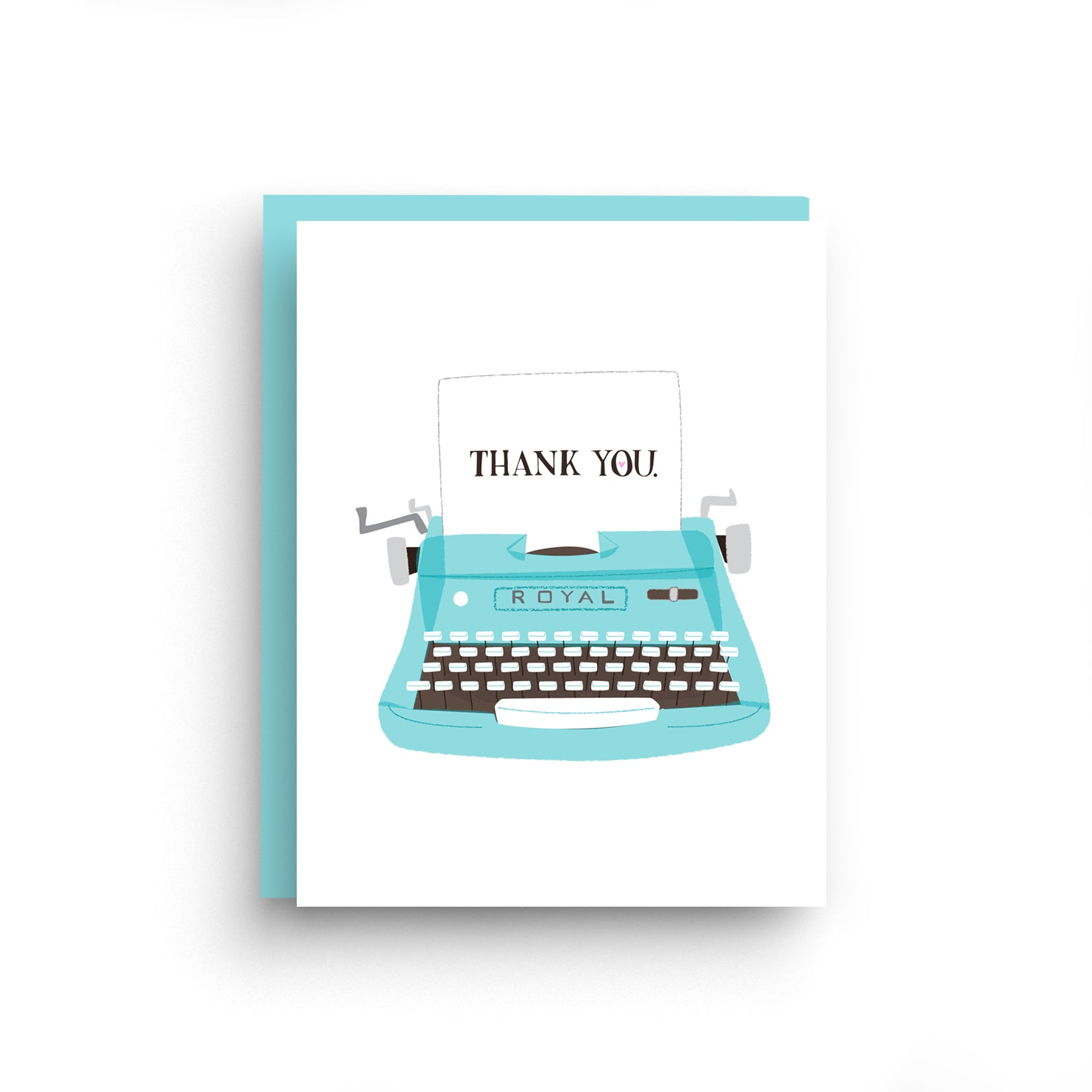 thank you cards, boxed set of cards, thank you card, thank you notes, thanks, vintage typewriter, blue typewriter, blue thank you card, royal typewriter, typewriter card, card for writer, typewriter thank you, retro typewriter