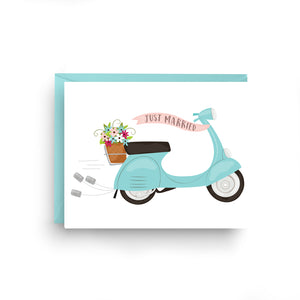 vespa stationery, boxed set of cards, vespa card, Italian wedding, wedding card, vespa, Italian stationery, Italian card, scooter, grazie card, blue vespa, Italian scooter, boxed set