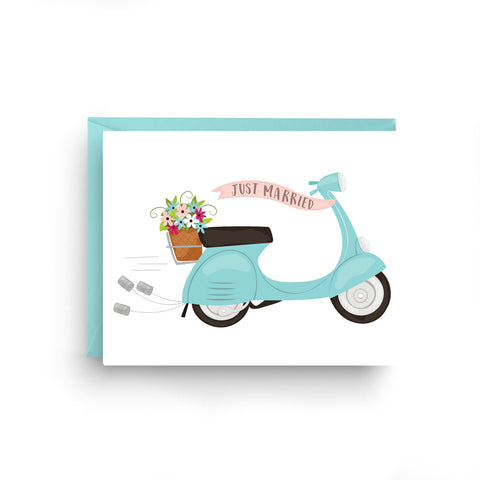 Wedding Vespa Card