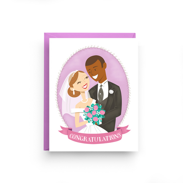 Interracial Wedding Couple Card