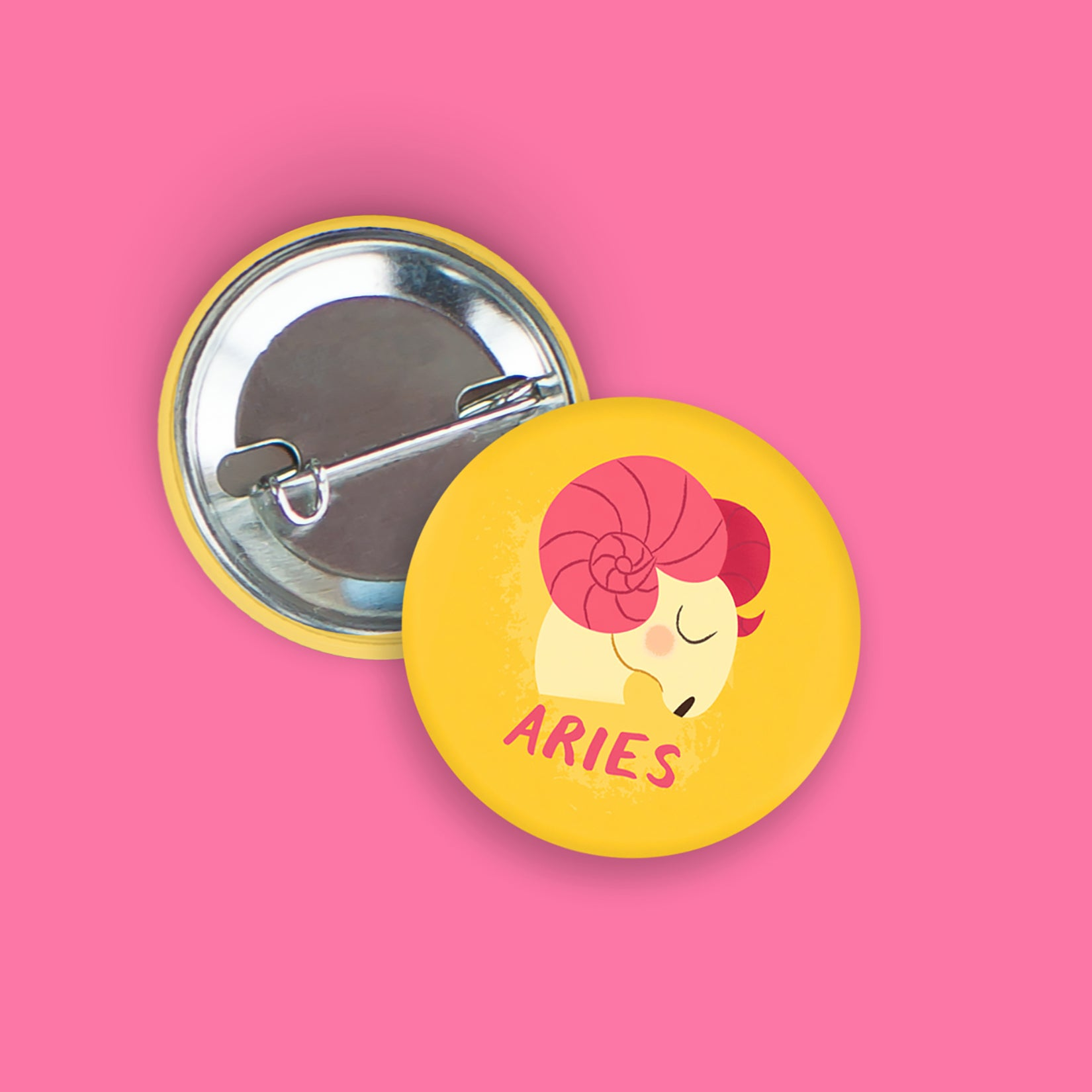 Aries Pin-Back Zodiac Button