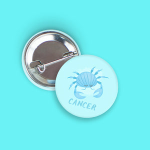 Cancer Pin-Back Zodiac Button
