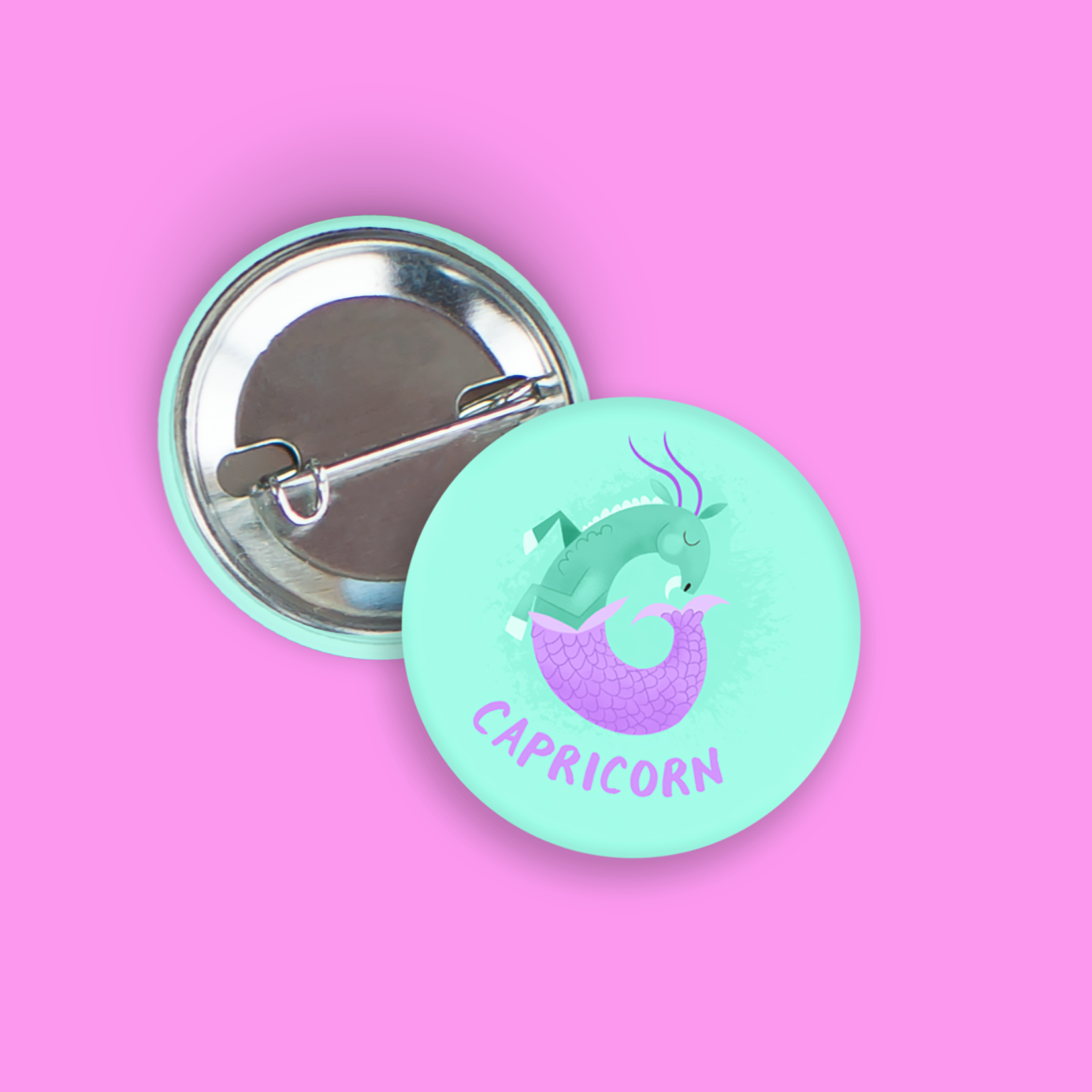 Capricorn Pin-Back Zodiac Button