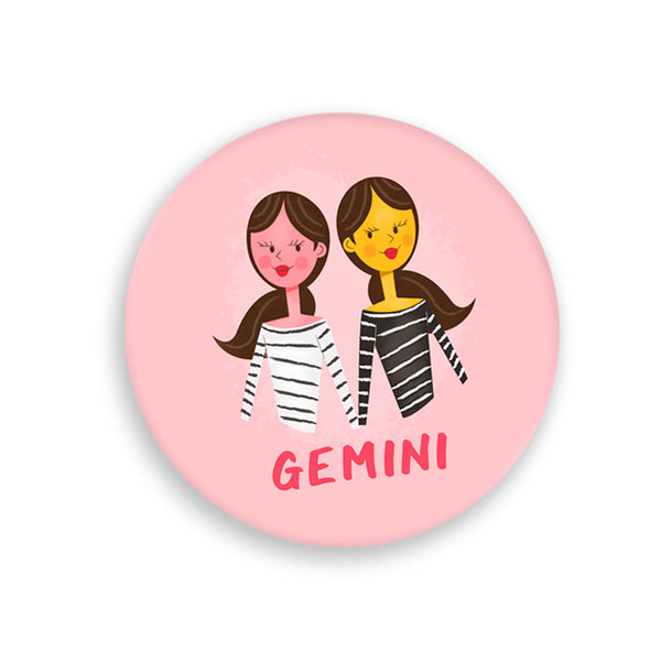 Gemini Pin-Back Zodiac Button