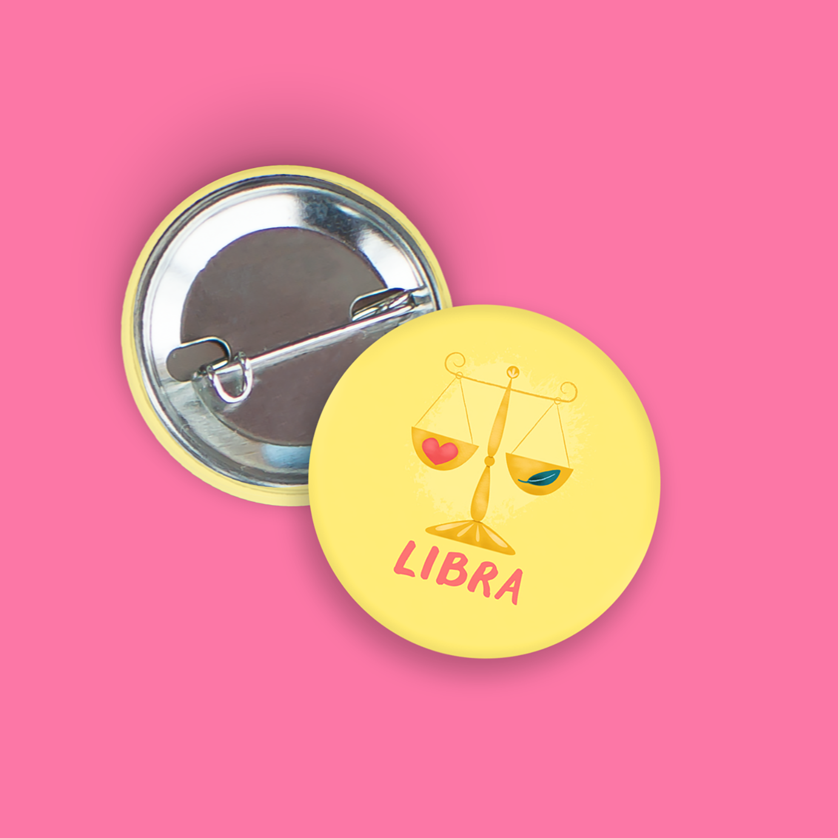 Libra Pin-Back Zodiac Button