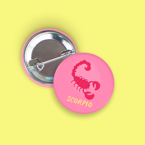 Scorpio Pin-Back Zodiac Button