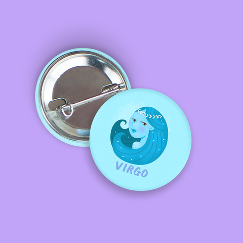 Virgo Pin-Back Zodiac Button