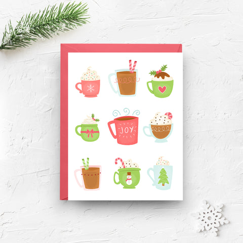 christmas card, merry christmas card, holiday card, holiday mugs, egg nog, hot cocoa, christmas mugs, holiday beverage, snowman, christmas drink, on sale, black friday sale, cyber monday sale