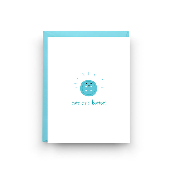 Cute As A Button, New Baby Card