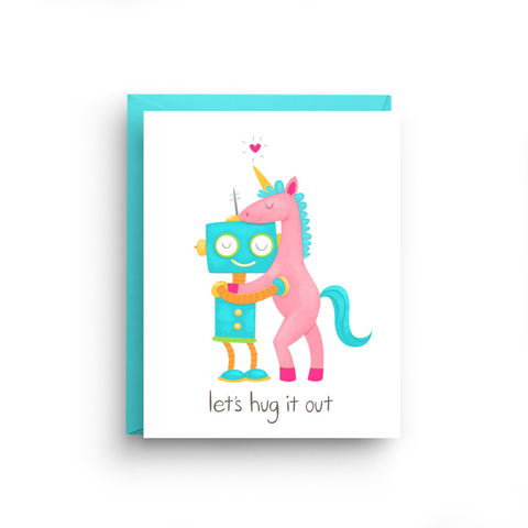 Let's Hug It Out - Robot Unicorn Card