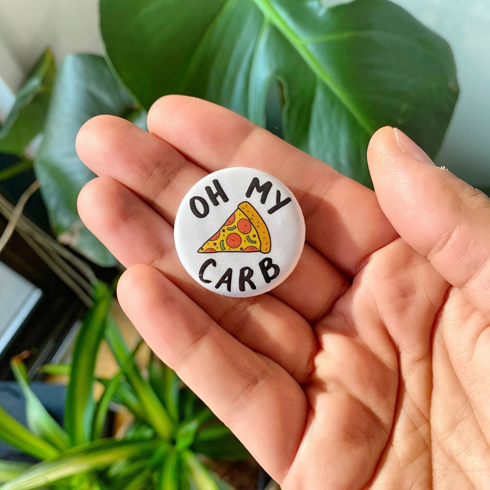 Oh My Carb - Funny Pizza Button