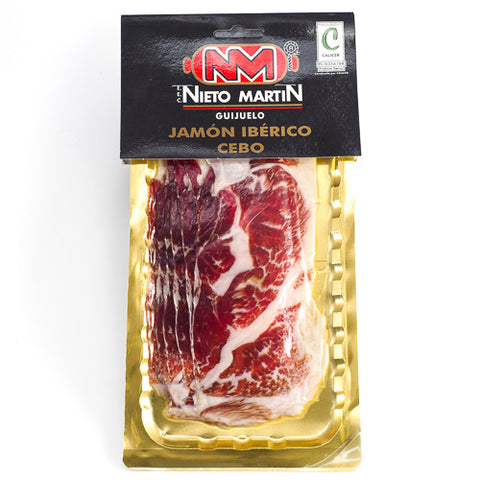 Sliced Jamón Ibérico Cebo: Traditional dry-cured ham produced from high quality Iberian pork