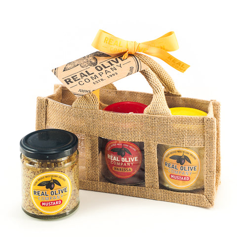 Jute Gift Bag with Harissa and Mustards