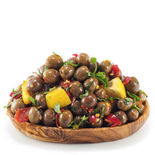 Arbequina Olives dressed with Chilli, Lemon & Mint