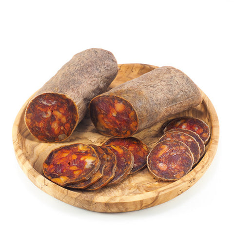 Chorizo Cular Ibérico Bellota: Dry-cured sausage made from premium acorn-fed Iberian pork, seasoned with Pimenton