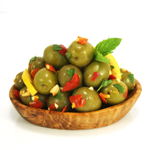 Olives dressed with Chilli, Lemon, Garlic & Mint