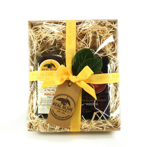 Hamper with High Quality Italian Extra Virgin Olive Oil and Balsamic Vinegar