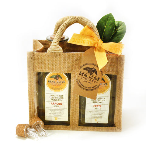 Jute Gift Bag with 2 x 700ml Extra Virgin Olive Oils