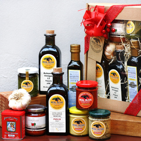 Gift Hamper with pantry essentials and our best Olive Oils and Balsamic Vinegar