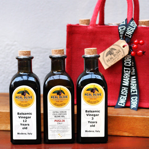 Christmas Hamper Bag with our best Olive Oil and Balsamic Vinegar