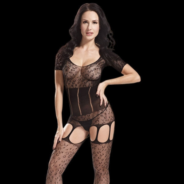 Hot Short Sleeve Garter Sexy Bodystocking Women's Lingerie Black