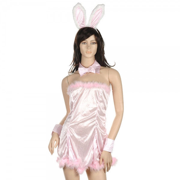 Sexy Bunny Girl Cosplay Costume Dress Women's Lingerie Set Pink