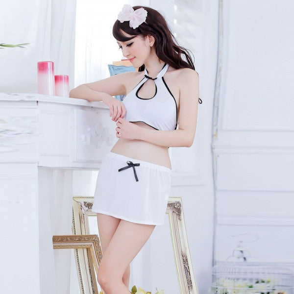 Sexy Cheer Leader Style Cosplay Costume Mini Skirt Uniform Women's Lingerie Set White