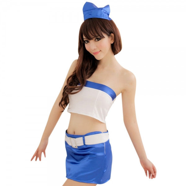 Sexy Cosplay Flight Attendant Uniform Adult Costume Women's Lingerie Set White & Blue