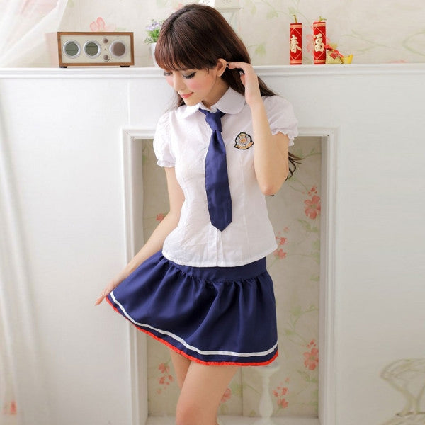 Sexy Cute Japanese High School Girl Uniform Adult Costume Women's Lingerie Set with Tie White & Blue