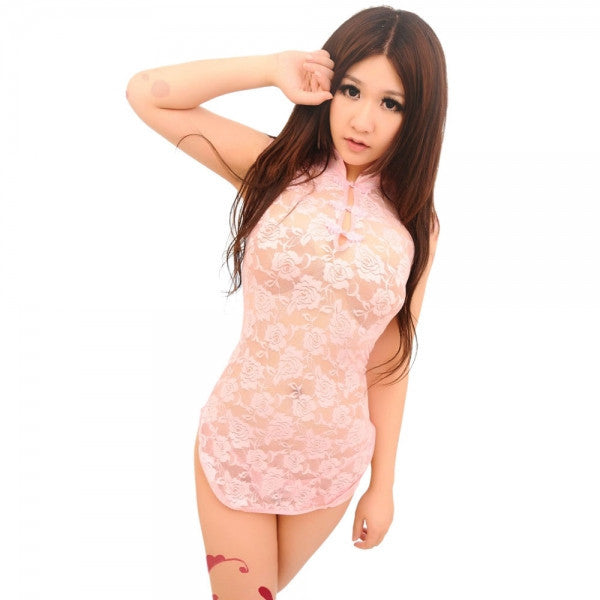 Sexy Floral Cheongsam Style Lace Sleep Dress Cosplay Uniform with Bellyband Purple