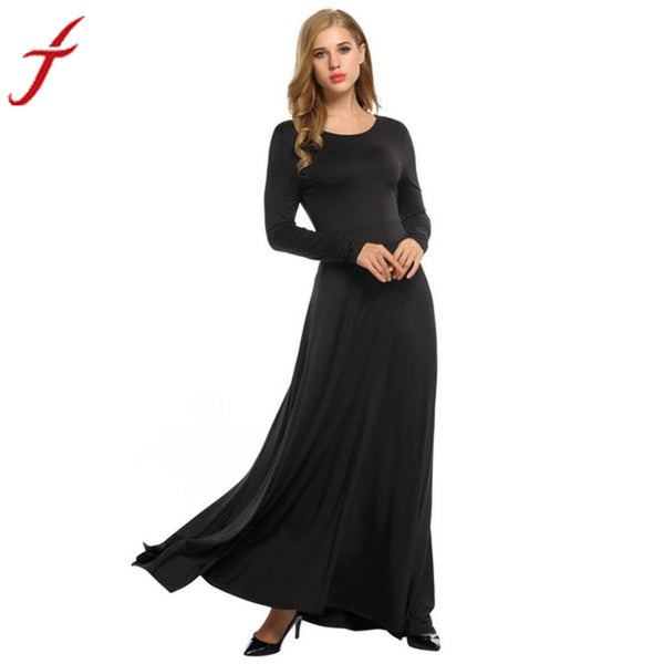 2017 Fashion Women Sexy Solid Black Long Sleeve Evening Party Ball Prom Gown Formal Long Dress#LSN
