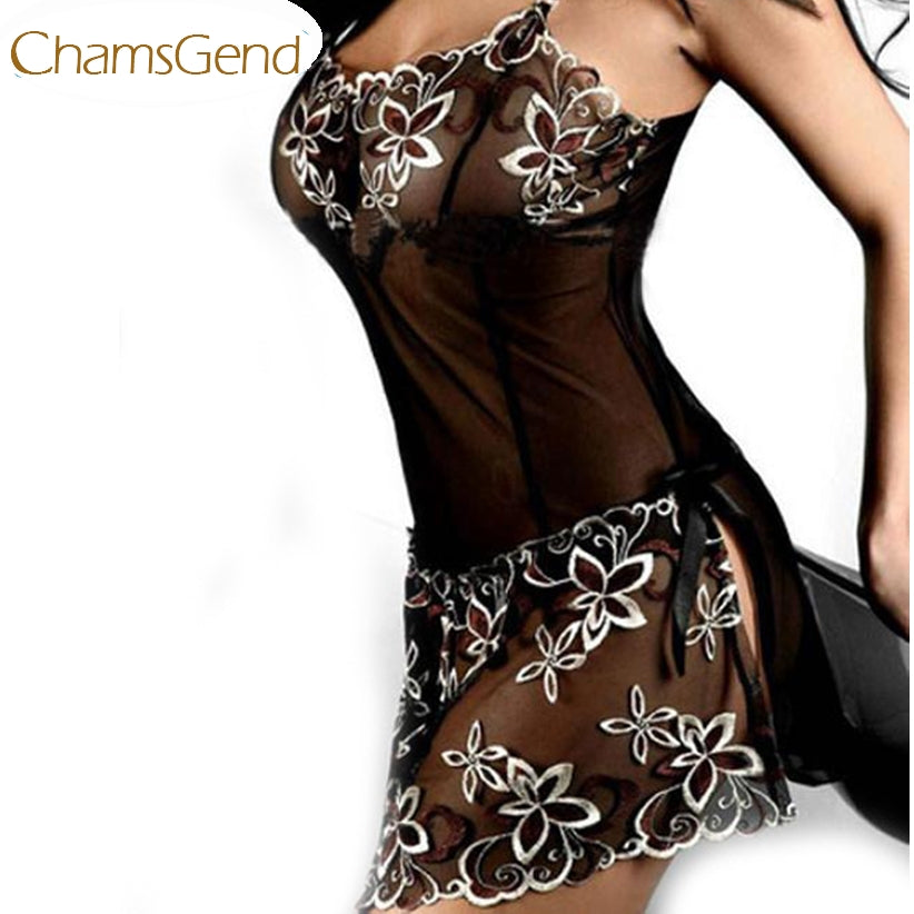 Chamsgend Newly Design embroidery Sexy Lingerie lady print perspective lure pajamas women underwear