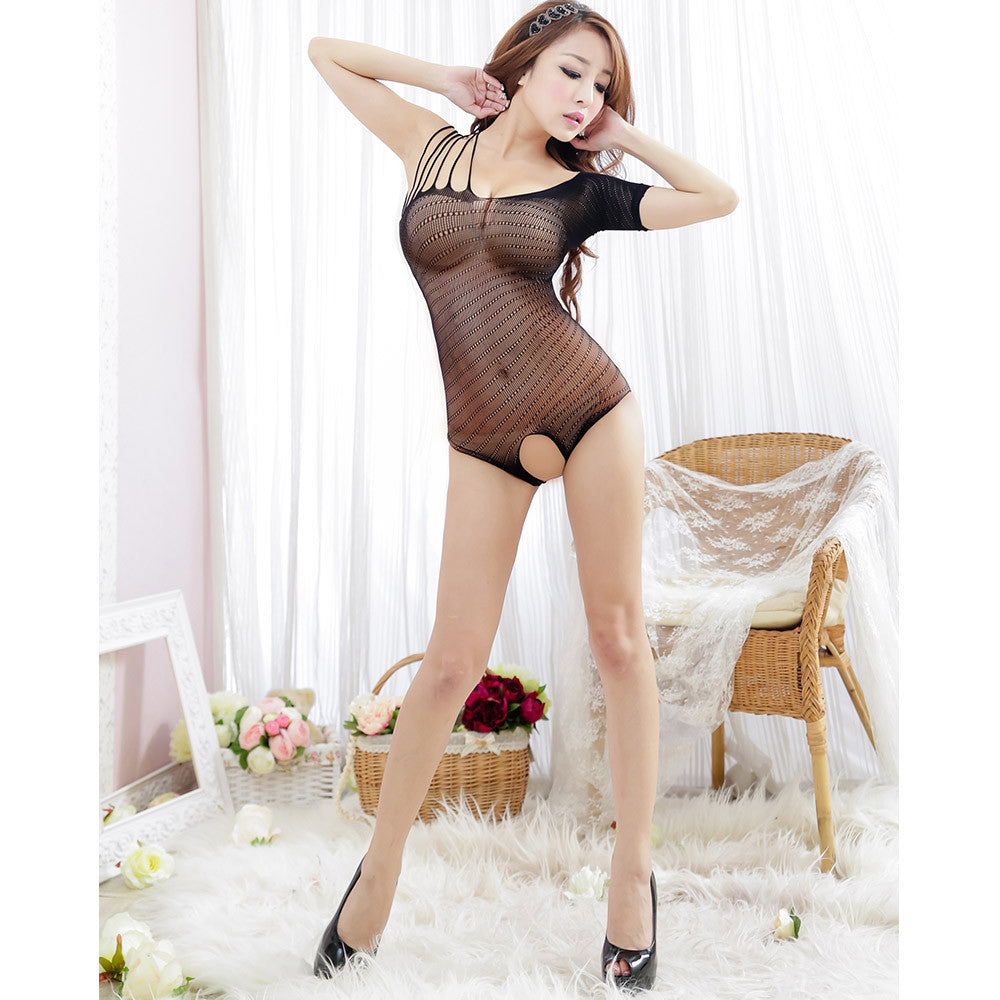 Fanshimite Sexy Translucent Thin Crotchless Teddies Sexy Lingerie Underwear for Women