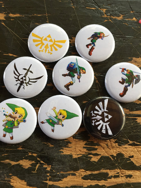 Zelda inspired 1 inch buttons (pricing includes shipping)