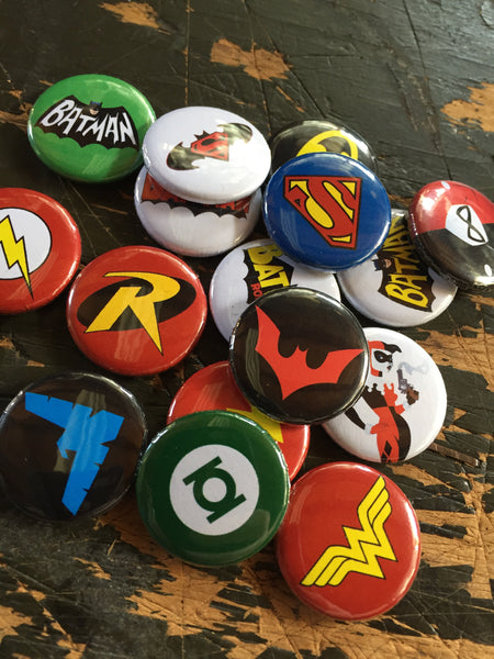 DC comics inspired 1 inch buttons (pricing includes shipping)