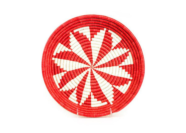 Hand Woven Red and White Floral Serving Tray