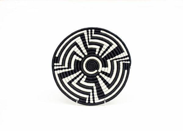 Hand Woven Black and White Tribal Design Trivet
