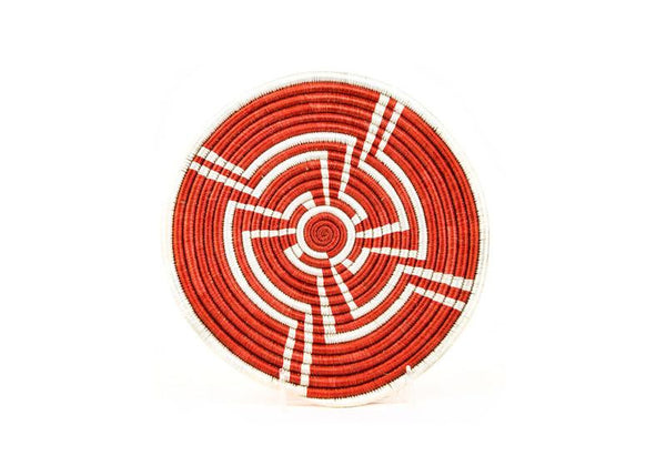 Small Hand Woven Red and White Tribal Design Basket