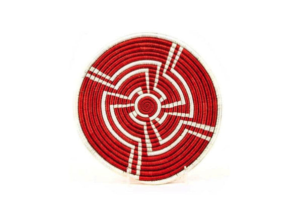 Hand Woven Red and White Tribal Design Trivet