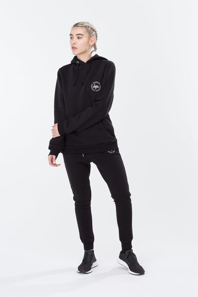 HYPE Black Crest Women's Pullover Hoodie-Pullover Hoodie-HYPE.-Weightless.no