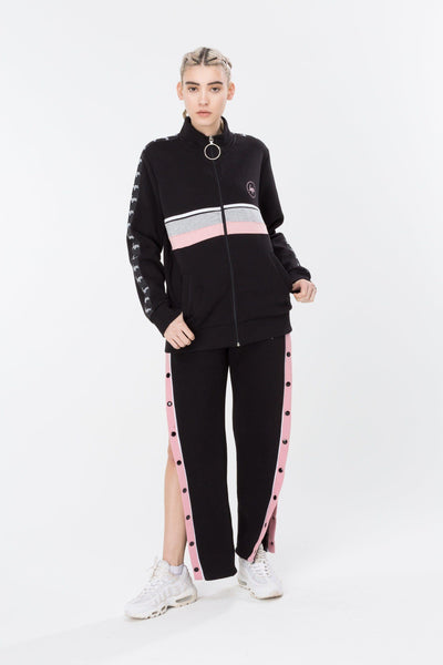 HYPE Black/Pink Popper Women's Joggers-Joggers-HYPE.-Weightless.no