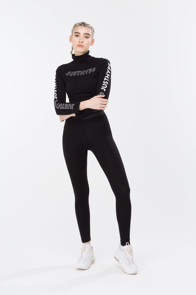 HYPE Black/White High Neck Women's L/S Crop Top-L/S Crop Top-HYPE.-Weightless.no