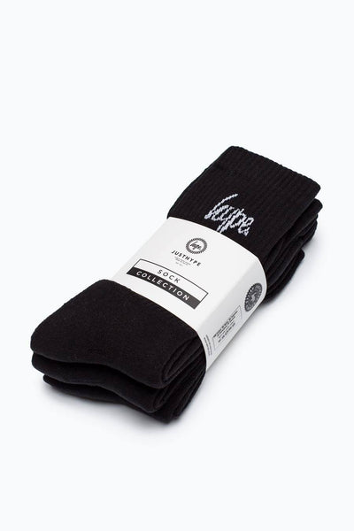 HYPE Black/White Script Crew Socks 3x Pack-Crew Socks 3x Pack-HYPE.-Weightless.no