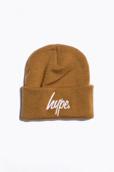 HYPE Caramel/White HYPE Script Beanie-Beanie-HYPE.-Weightless.no