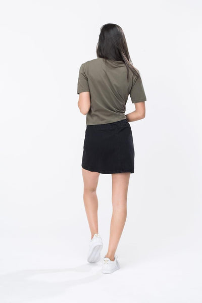 HYPE Khaki/White Hype Script Women's Crop T-Shirt-Crop T-Shirt-HYPE.-Weightless.no