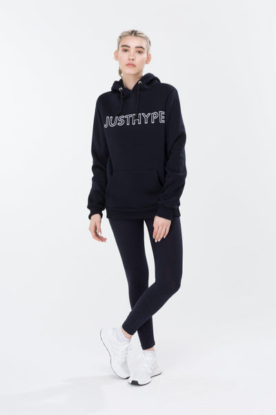 HYPE Navy/White Embroidered Women's Pullover Hoodie-Pullover Hoodie-HYPE.-Weightless.no