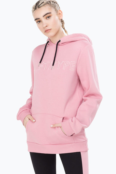 HYPE Pink/Pink Embroidered Women's Pullover Hoodie-Pullover Hoodie-HYPE.-Weightless.no