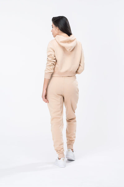HYPE Sand/White Hype Script Women's Crop Hoodie-Crop Hoodie-HYPE.-Weightless.no