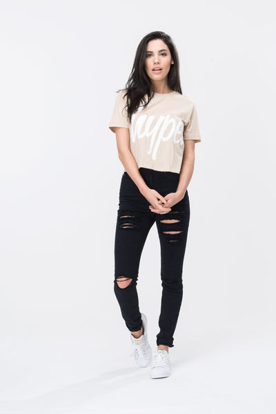 HYPE Sand/White Hype Script Women's Crop T-Shirt-Crop T-Shirt-HYPE.-Weightless.no